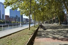 The Nervión River passes through the Arenal promenade. Bilbao royalty free stock images