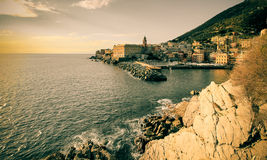 Nervi, Genova beautiful scene, landscape photo, retro revival. Royalty Free Stock Photo