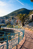 Nervi's promenade in Genoa. Nervi and its promenade. On the background the old town royalty free stock images