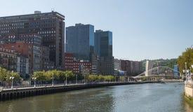 Nervion River and Calatrava Bridge in Bilbao Royalty Free Stock Photos