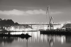 Nervion river and rontegi bridge at night Royalty Free Stock Image