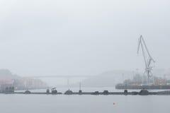 Nervion river and rontegi bridge on rainny day Stock Image