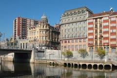 Nervion rzeki bulwar bilbao Hiszpanii zdjęcia royalty free