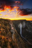 Nervion waterfall at sunset Stock Images