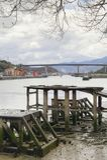 Nervionrivier en Rontegi-brug spanje Stock Afbeelding