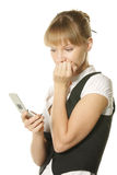 Nervous. Businesswoman dialing number at white mobile royalty free stock photography