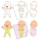 Cute little baby cry, smile, sleep. Nervous baby and after - calm peaceful sleep. How to calm down crying baby, Swaddle baby. Vector illustration vector illustration