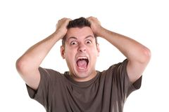 Nervous breakdown. Frustrated young man, isolated on white Stock Photos
