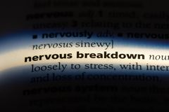 Nervous breakdown. Word in a dictionary.  concept royalty free stock image
