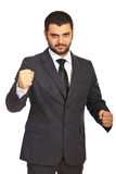Nervous business man showing fists Stock Photography