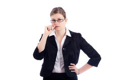 Nervous business woman Stock Image