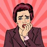 Nervous Business Woman Biting Her Fingers. Pop Art Stock Photo
