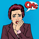 Nervous Business Woman Biting Her Fingers. Pop Art Stock Images