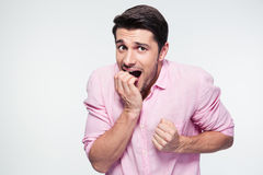 Nervous businessman looking at camera royalty free stock photo