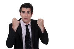 Nervous businessman Stock Photo