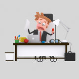 Nervous businessman working at office.3D. 