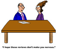 Nervous Businesswoman. Business cartoon about a businesswoman who is very nervous in the project review with her boss Royalty Free Stock Photos