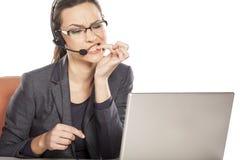 Nervous businesswoman Stock Photo