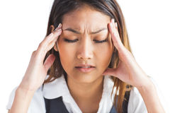 Nervous businesswoman holding her head Stock Images