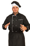 Nervous chef male gesticulate. With hands isolated on white background royalty free stock photography