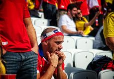Nervous Chilean fan Stock Photo