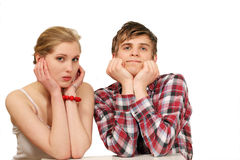 Nervous couple waiting Royalty Free Stock Image