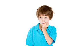 A nervous cute kid Stock Photo
