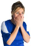 Nervous football fan in blue jersey Stock Photography