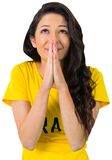 Nervous football fan in brasil tshirt Stock Images