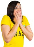Nervous football fan in brasil tshirt Royalty Free Stock Photo