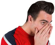 Nervous football fan looking ahead Stock Photos