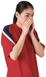 Nervous football fan looking ahead Royalty Free Stock Images