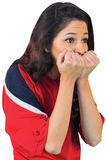 Nervous football fan in red Royalty Free Stock Photo