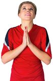 Nervous football fan in red Stock Image