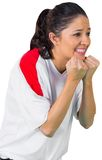 Nervous football fan in white Stock Photography