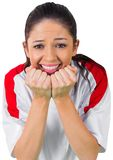 Nervous football fan in white Royalty Free Stock Image