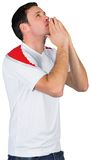 Nervous football fan in white Royalty Free Stock Photography