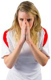 Nervous football fan in white Royalty Free Stock Photos
