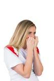 Nervous football fan in white Stock Photo
