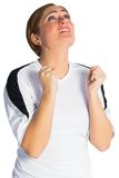 Nervous football fan in white Stock Photos