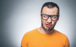 Nervous funny nerd guy Stock Images