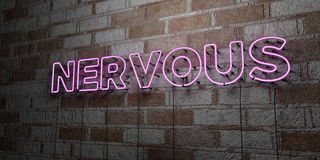 NERVOUS - Glowing Neon Sign on stonework wall - 3D rendered royalty free stock illustration. Can be used for online banner ads and direct mailers Stock Image