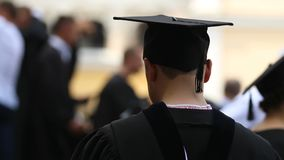 Nervous honors student repeating graduation ceremony speech, higher education. Stock footage stock video