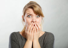 Nervous lady expressing fear. Emotions feelings psychology adrenaline concept. Nervous lady expressing fear. Young scared girl intimidated feeling endangered Royalty Free Stock Photography