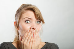 Nervous lady expressing fear. Stock Photo