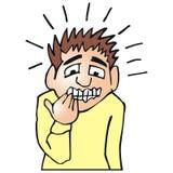 Nervous man. Art illustration of a nervous or anxious man Stock Photo