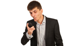 Nervous man with phone mobile Stock Photography