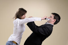 Nervous manager gluing his partner mouth Royalty Free Stock Photos