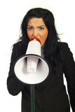 Nervous manager shouting into megaphone Stock Photos