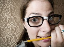 Nervous Nerdy Woman Royalty Free Stock Image